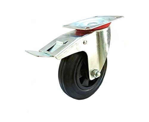 6寸欧款黑色橡胶脚轮