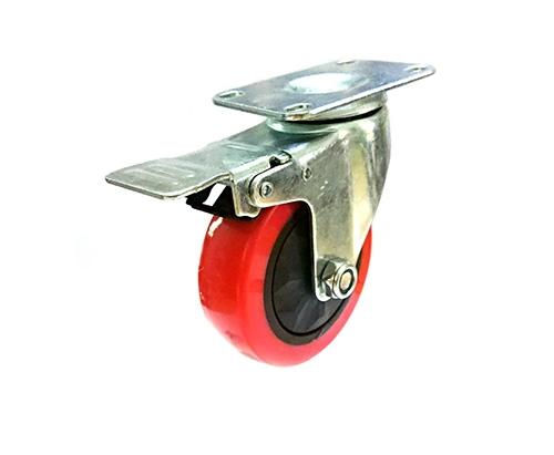 3-5寸平底刹车红色单轴脚轮