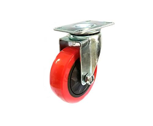 4寸平底红色单轴万向脚轮