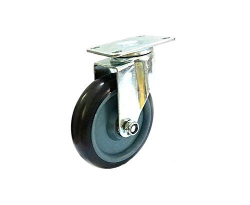 5寸平底双轴黑色万向轮