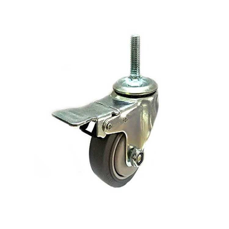 3寸丝杆刹车TPR静音脚轮