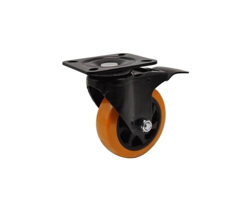 4寸平板橙色刹车脚轮