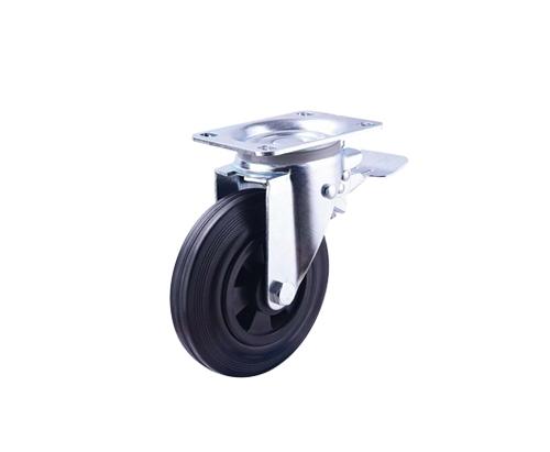 8寸工业橡胶刹车脚轮