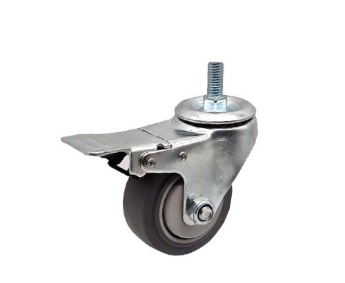 3-5寸丝杆刹车双轴人造胶脚轮