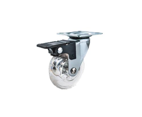 2寸透明胶平底刹车轮