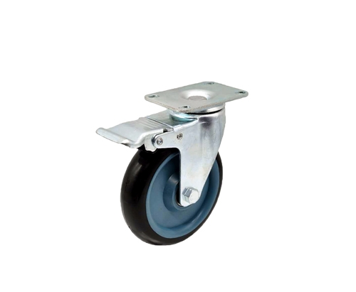 5寸平底带刹车双轴黑色PU脚轮