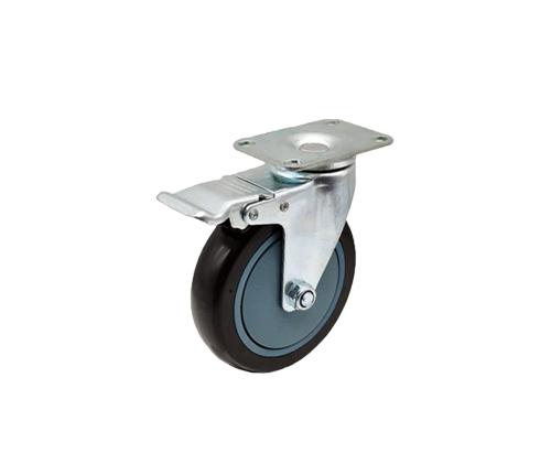 5寸平底带刹车单轴黑色PU脚轮