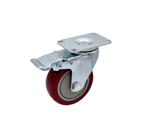4寸平底刹车枣红单轴脚轮
