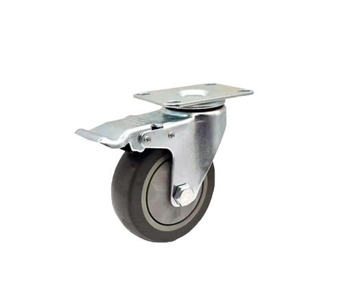 4寸平底刹车灰色单轴脚轮