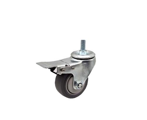 3寸丝杆刹车双轴人造胶脚轮