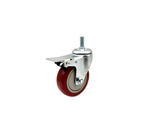 3寸丝杆枣红单轴万向刹车轮