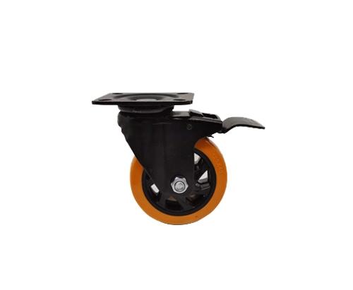 5寸电泳通花刹车脚轮橙色