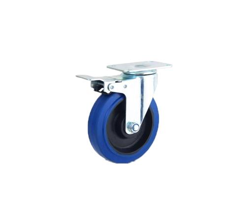 中型弹力蓝色刹车脚轮