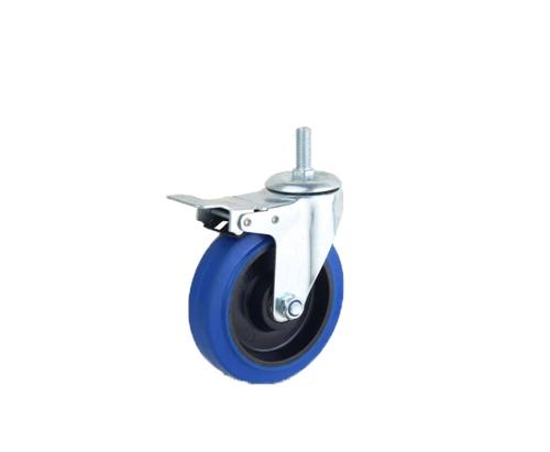 丝杆橡胶弹力刹车轮蓝色