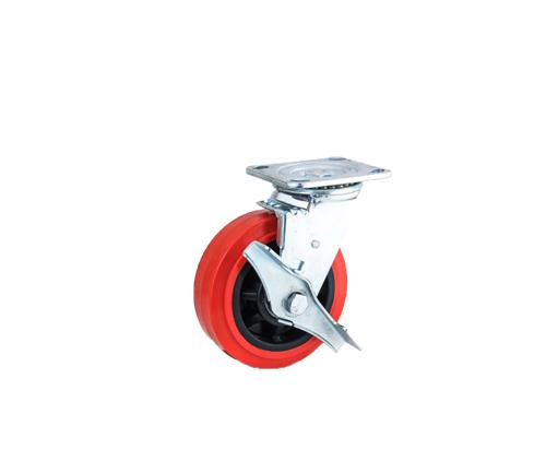 重型双轴红色pvc边刹脚轮