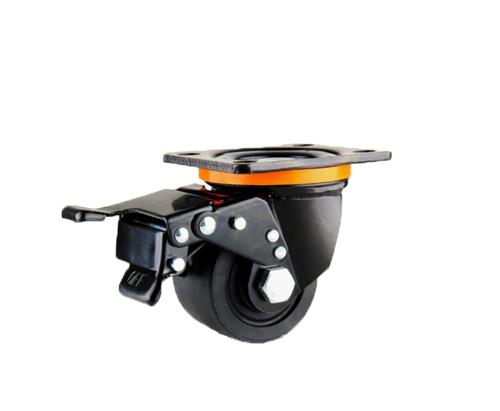 低重心双轴黑色聚酰胺刹车脚轮