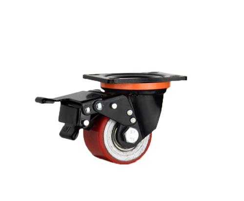 低重心双轴红色铁芯pu刹车脚轮