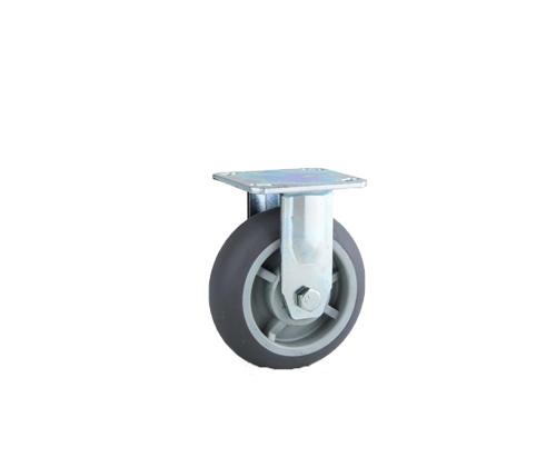 重型双轴圆边灰色超级人造胶定向脚轮