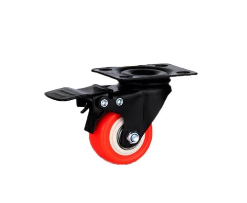 1.5寸金钻平底刹车红色轮