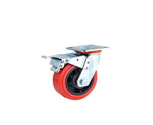 重型双轴红色pvc刹车脚轮