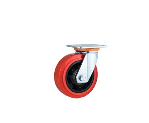 重型双轴红色pvc万向脚轮