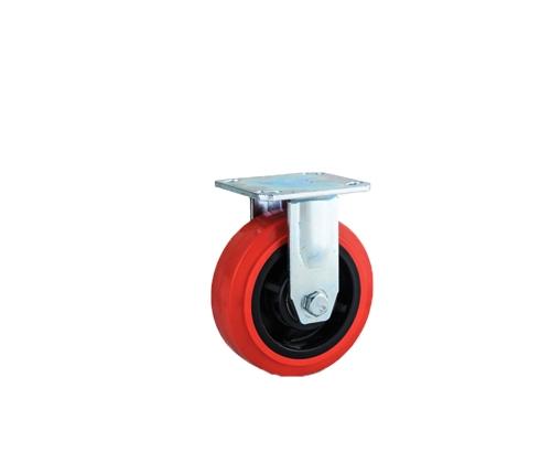 重型双轴红色pvc定向脚轮