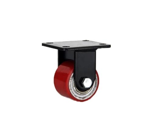 低重心双轴红色铁芯pu定向脚轮
