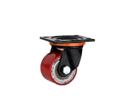 低重心双轴红铁芯pu万向脚轮