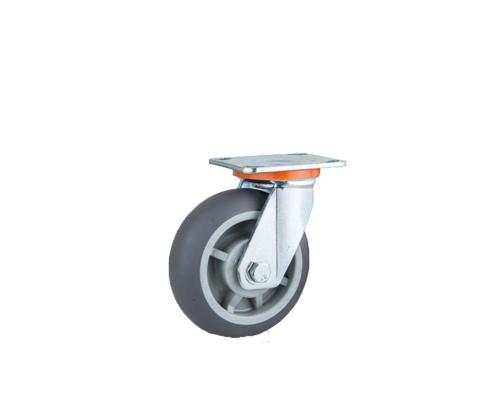 重型圆边双轴灰色人造胶万向脚轮