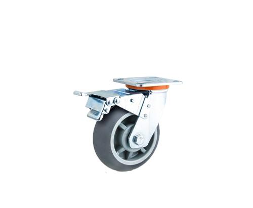 重型圆边双轴灰色人造胶刹车脚轮