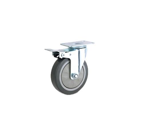 中型平底单轴灰色pvc刹车轮
