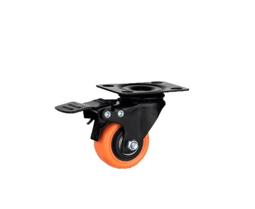 金钻平底刹车橙色脚轮