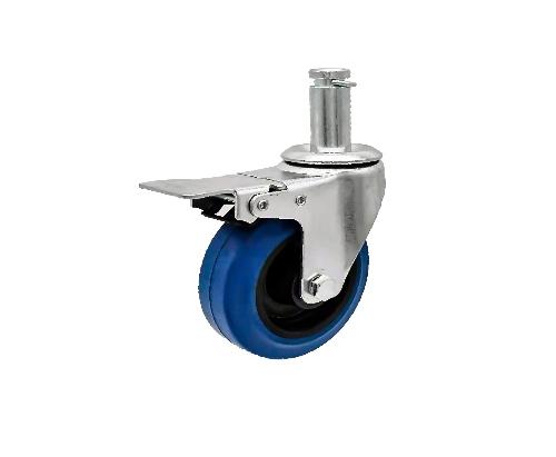 插杆蓝色万向带刹车弹力轮