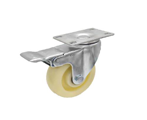 4寸平板白尼龙万向带刹车轮