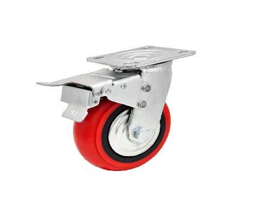 韩式pu重型万向带刹车轮
